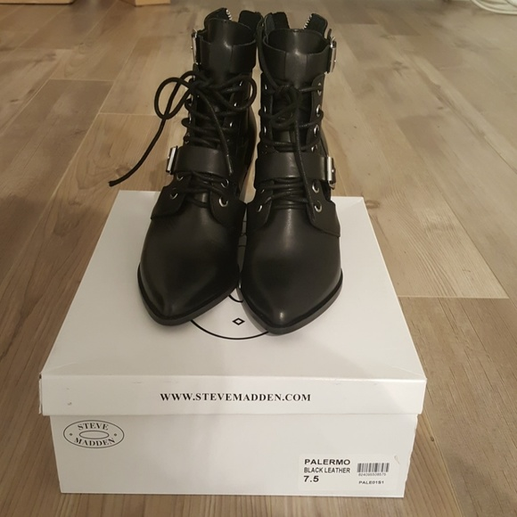 33916a9f308 Steve madden black leather Palermo ankle boot. M 5c4d3f76aa571965095ea7ea
